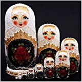 Debbieicy 10Pcs Beautiful Handmade Wooden Russian Nesting Dolls Wedding Dress Roses Princess Matryoshka Dolls Gift- Stacking Doll Set of 10 from 11.8'' Tall