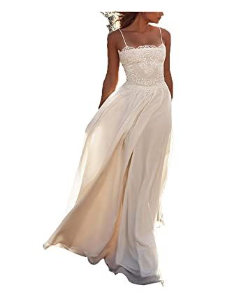 Dreamydesign Womens Chiffon Bohemian Wedding Dress Spaghetti Strap