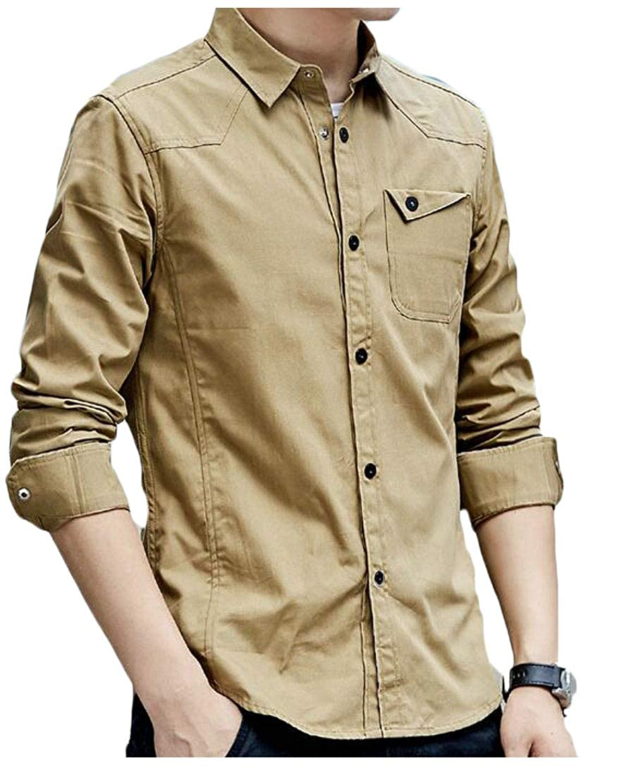 Cromoncent Men Slim Fit Cotton Military Casual Long Sleeve Button Down Shirt