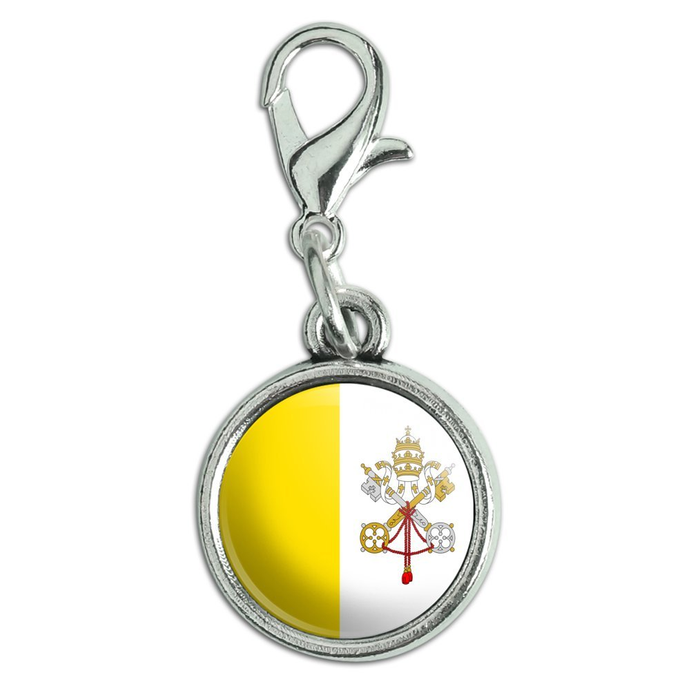 Graphics and More Antiqued Bracelet Pendant Zipper Pull Charm with Lobster Clasp Country National Flag T-Z