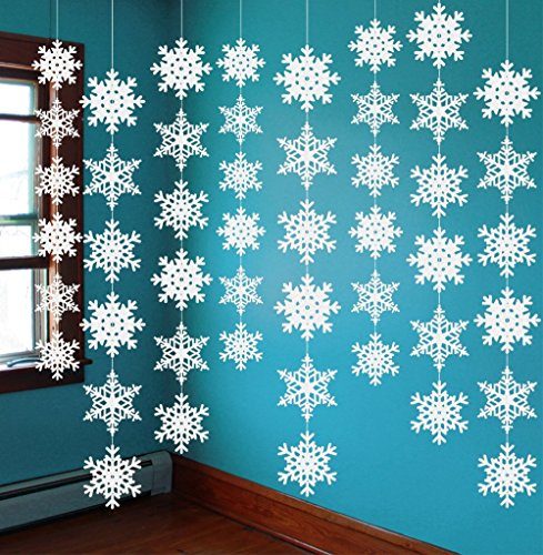 jollylife 8PCS Snowflake Winter Wonderland Birthday Decorations - Christmas Hanging White Party Decor Supplies]()