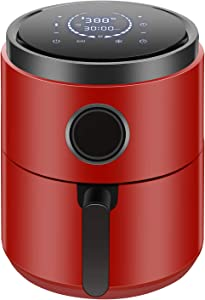 R.W.FLAME Air Fryer 5.3QT,Electric Stainless Steel Hot Air Fryer,LED Display,Timer & Temperature Setting,Unfreeze&Appointment,ETL GS CE CB Certificated,Red,1400W