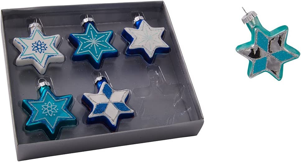 Kurt Adler H8203 Glass Star of David with Glitter Ornament, Set of 6