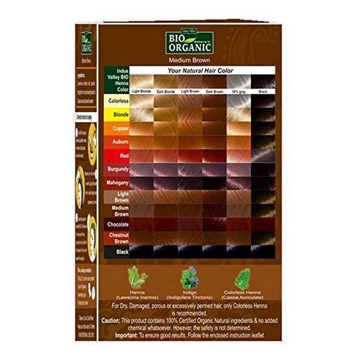 Indus Valley Bio Organic Natural Medium Brown Henna Hair Color For