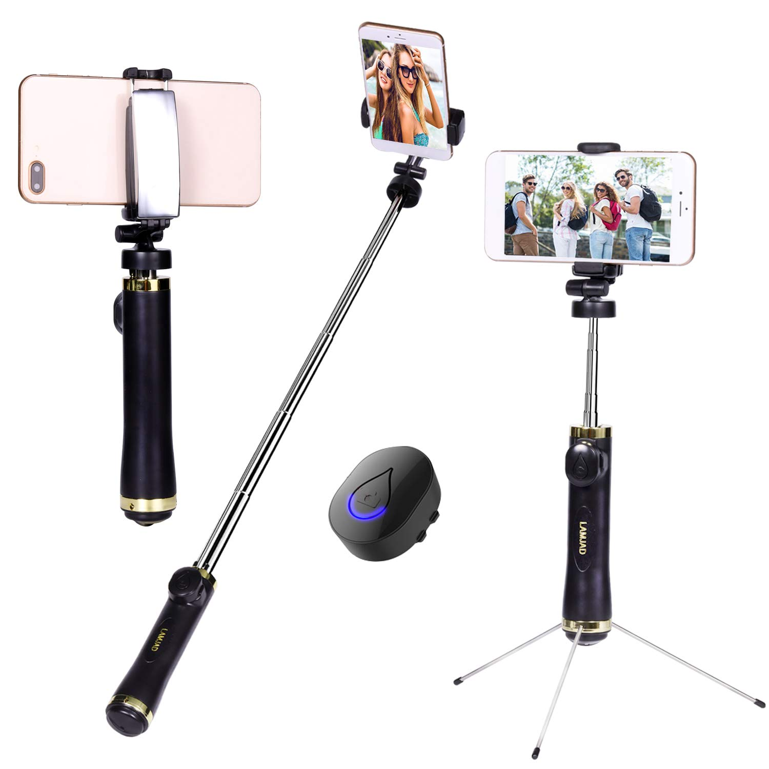 Selfie Stick, LAMJAD Extendable Selfie Stick Tripod with Wireless Remote and Tripod Stand Selfie Stick for iPhone XS/XSmax/XR/X/8/8P/7/7P/6s/6/5, Galaxy S9/8/7/6/Note, Android Smartphone by LAMJAD