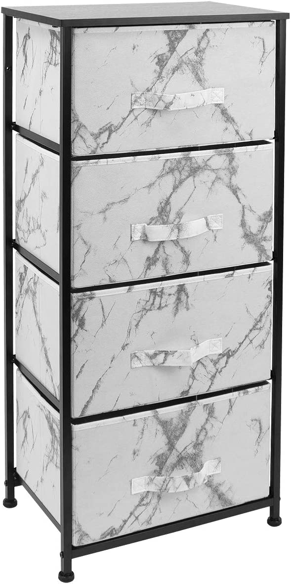 Sorbus Nightstand with 4 Drawers - Bedside Furniture & Night Stand End Table Dresser for Home, Bedroom Accessories, Office, College Dorm, Steel Frame, Wood Top (4-Drawer, Marble White – Black Frame)