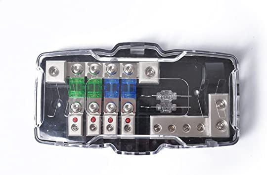 Keenso Auto 4 Way Audio Fuse Box Power Distribution Block 0//4GA with 80Amp Fuses Car ANL Fuse Holder