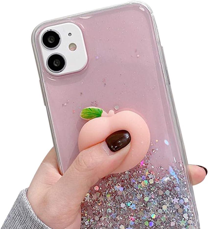 Decompression Finger Pinch Cute for iPhone 6S Plus Case Soft Squishy 3D Peach Fruit Protective Kawaii for iPhone 6S Plus Case (Glitter Peaches, iPhone 6 Plus/ 6S Plus)