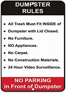 8''x12'' Dumpster Rules Security Sign Tin Sign Vintage Funny Creature Iron Painting Metal Plate Personality Novelty