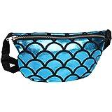 Dolores Women Shiny Fish Scale Waist Bum Bag Glitter Fanny Pack Sports Travel Shoulder Bags