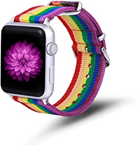Compatible iWatch Band American Flag Wristband 38mm 40mm Denim Fabric Band Replacement Watch Strap Accessories Compatible for iWatch Series 5/4/3/2/1 (Rainbow)