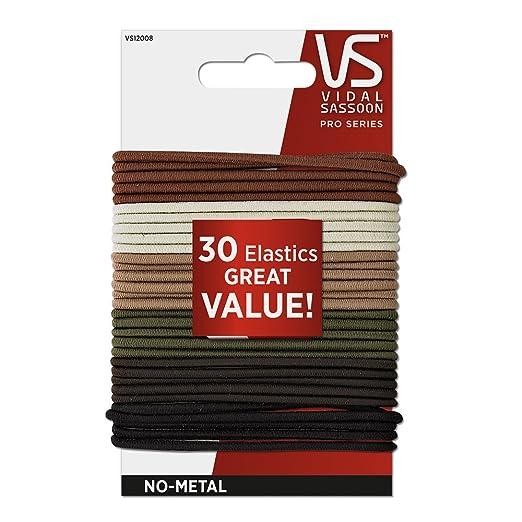 Vidal Sassoon Medium No Crimper Elastics, Neutral, 30 Count