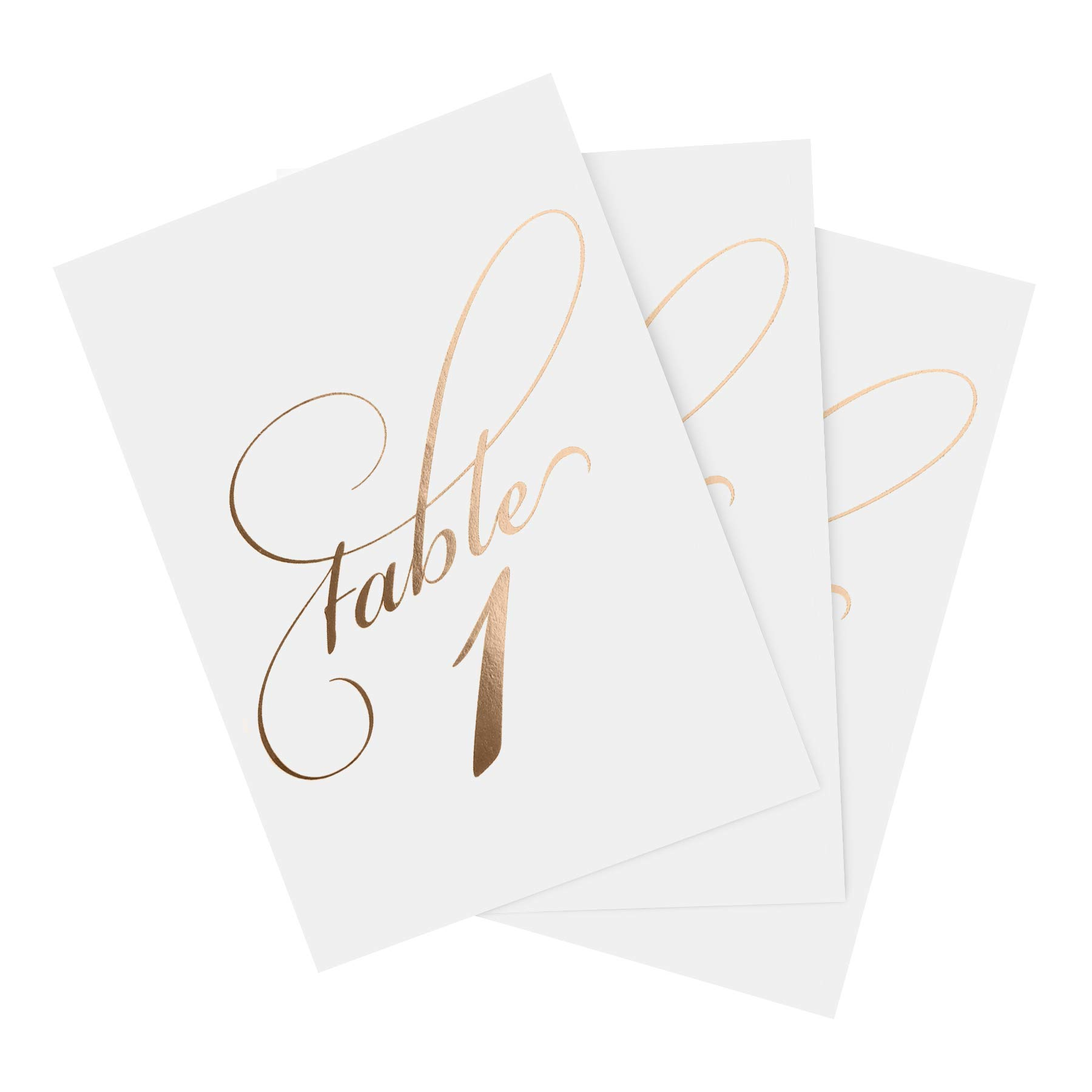 Bliss Collections Rose Gold Wedding Table Numbers, 1-40 and Head Table Card Included, Double Sided, 4x6, Calligraphy Design Made in the USA by Bliss Collections