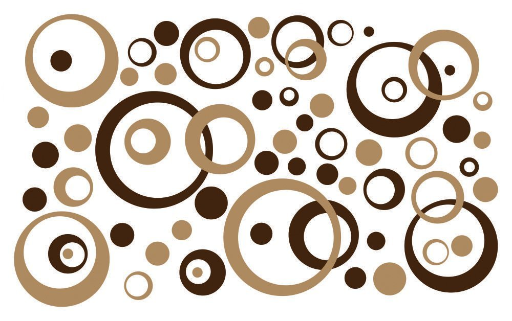 Wall Decor Plus More WDPM222 Wall Vinyl Sticker Decal Circles andRings, Tan/Chocolate Brown, 50-Piece