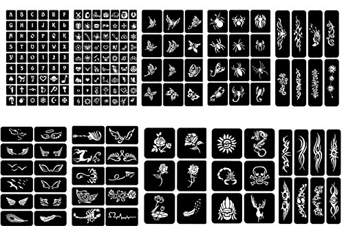 10 Sheets Crafts Adhesive Henna Tattoo Stencils Templates for Henna Tattoo Body Art Painting Glitter Tattoos Airbrush Tattoos