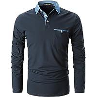 GHYUGR Polo para Hombre Mangas Largas Denim Costura Camisas Algodón Slim Fit Camiseta Golf Poloshirt T-Shirt Oficina Botón Cuello