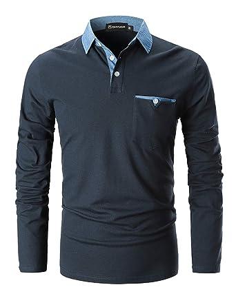 b55bfc5946ec GHYUGR Poloshirts Herren Basic Langarm Baumwolle Polohemd Denim Nähen Golf T -Shirt S-XXL  Amazon.de  Bekleidung