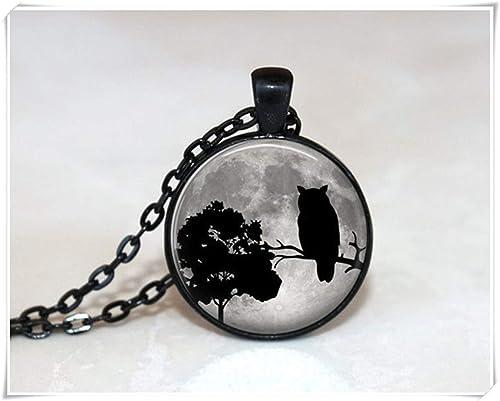 Gufo collana collana di vetro piastrelle owl jewelry albero