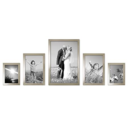 Set of 5 Picture Frame 15 x 20 Photo Frame 20 x 30/30 x 45 cm silver ...