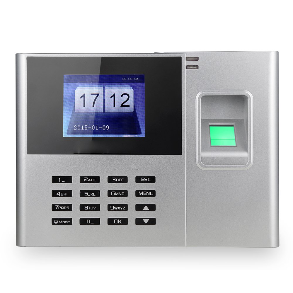 Aibecy Biometric Fingerprint Password Attendance Machine Employee Checking-in Recorder 2.8 inch TFT LCD Screen DC 5V Time Attendance Clock