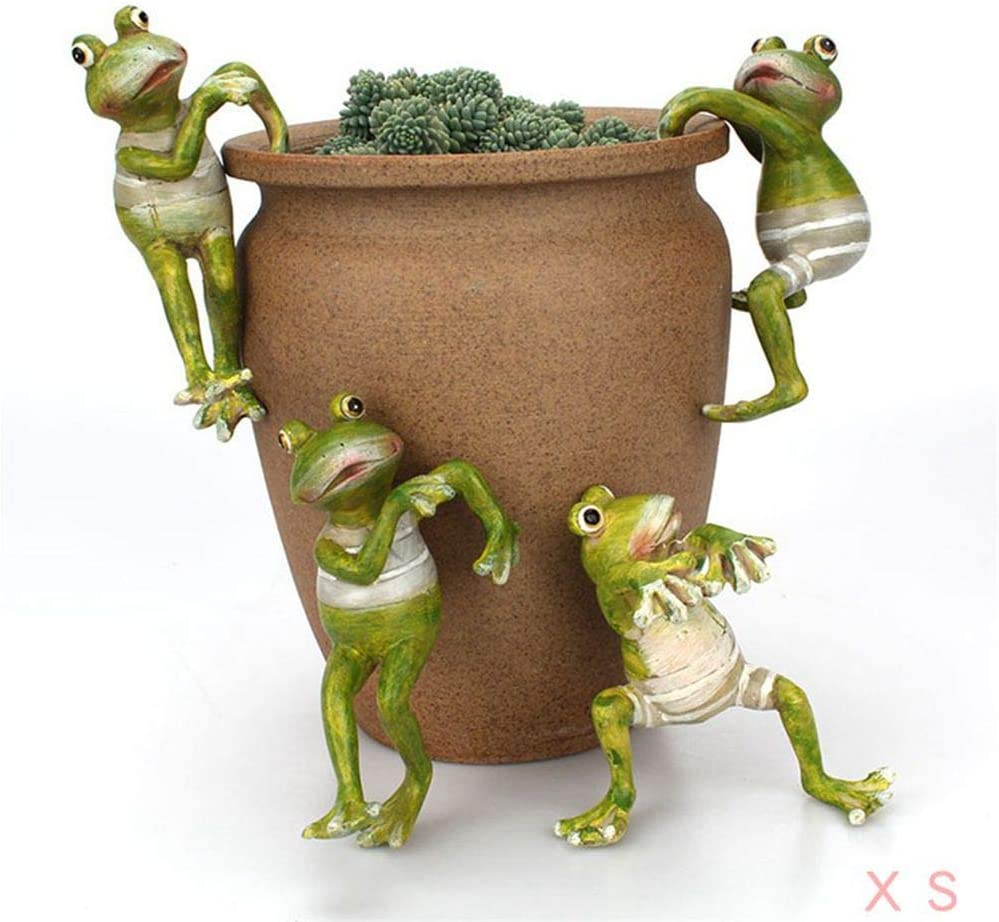 HomDSim 4Pack Garden Frogs Statues Flowerpot Landscaping Tree-Hugger Statues Lawn Sculptures Statues Home Office Deco