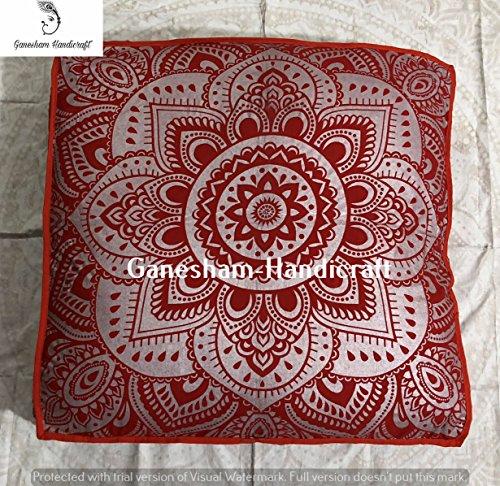 GANESHAM Indian floor pouf ottoman pet beds made mandala tapestry, boho mandala cushion cover, dog bed, boho decor, handmade yoga mat tapestry decorative pillow cover floor pillow