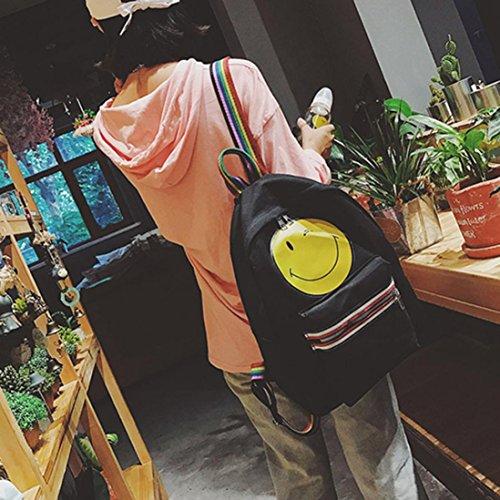 Goodsatar Mujeres Emoji Lona Paquete de ocio Solo bolso del hombro Sonriente cara mochila (Negro) Negro