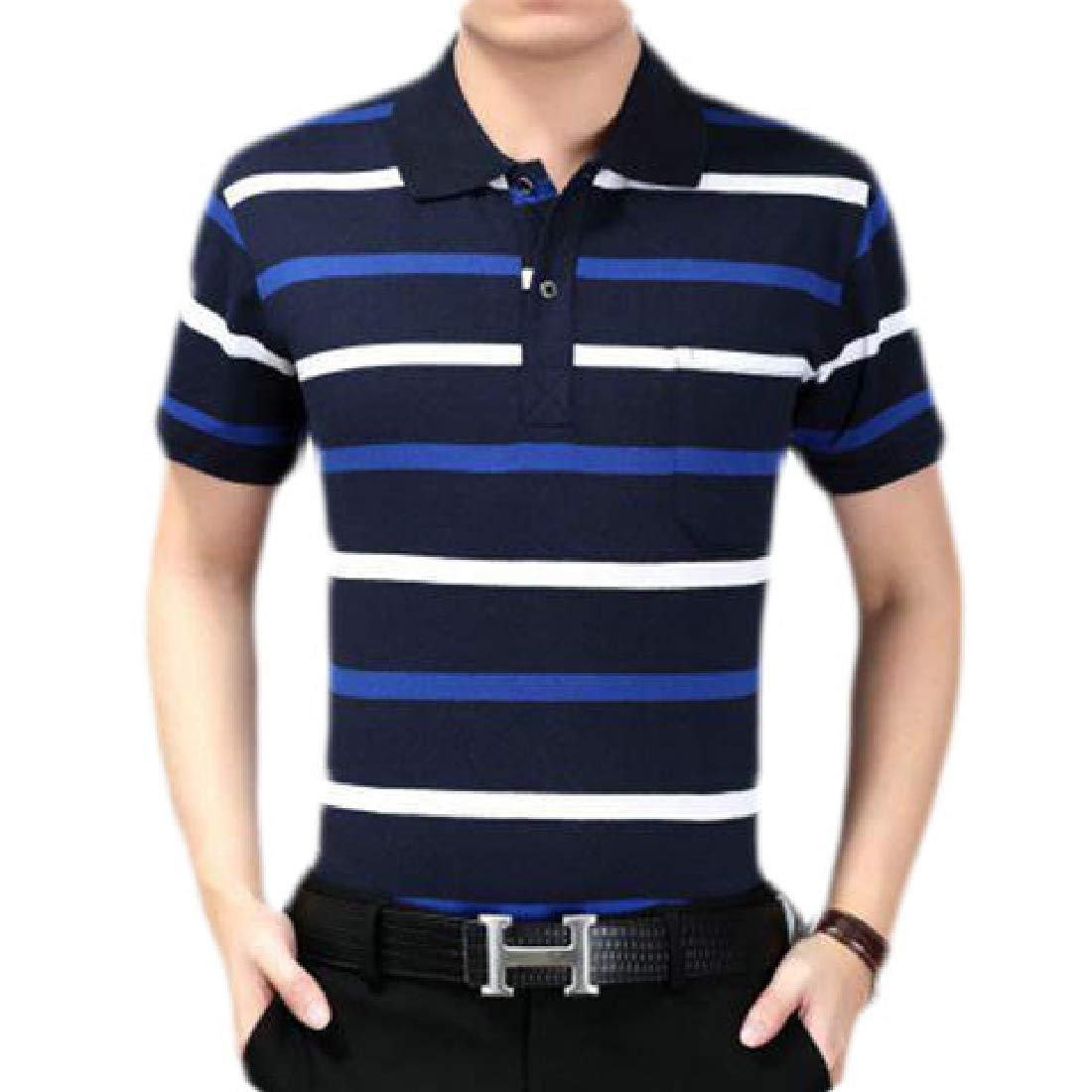 Zantt Men Pullover Striped Work Short Sleeve Classic Polo