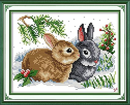 Joy Sunday Lucky Rabbits Cross Stitch Kits, 11CT Stamped Cross Stitch Kit DIY Cross-Stitch Hand Embroidery kits DMC Floor DIY Art Crafts Sewing Needlework DMC Thread 13''x10'' Jsunday