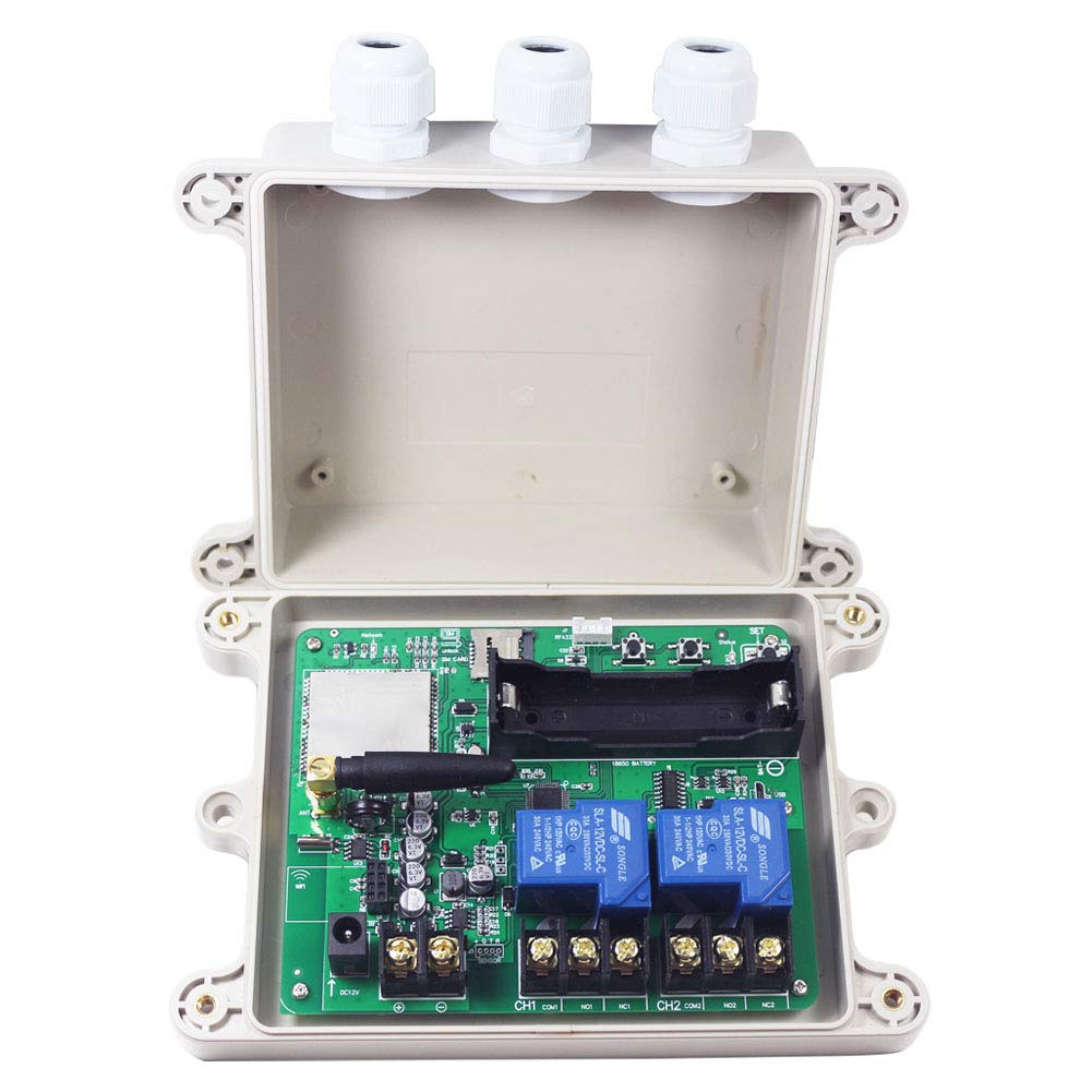 KT-G3-A USA 4G GSM AUTO Relay Switch 12V Solenoid Remote Control Box Wireless Gate Opener 2CH Output HOG Trap System 30A Relay Contact(for AT&T and T-Mobile)