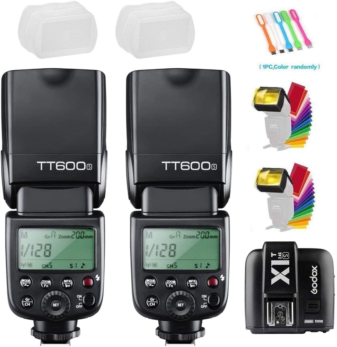 Godox TT600S 2PCS Camera Flash Speedlite GN60 High-Speed Sync 1/8000s 2.4G Wireless X-System Master Slave Light with X1T-S Trigger Transmitter Compatible for Sony Cameras
