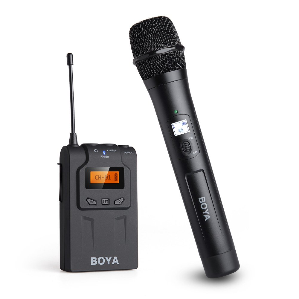 BOYA UHF Wireless Handheld Microphone System Support Sony Canon Nikon DSLR Camera, Video Camcorder, DV, iPhone, Android Phone Camera, Speaker for Interviews, Video, Karaoke, Church