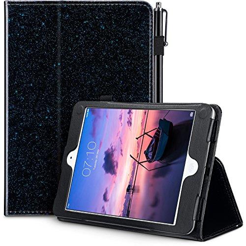 UrbanDrama Case for iPad Mini 1, Mini 2, Mini 3, Glitter Sparkly Slim Fit Folio Stand PU Leather Feature Luxury Smart Cover Protective Case Compatible for iPad Mini 1, 2, 3, Black Blue