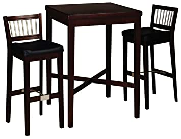 2d57ed07949 Home Styles Furniture 3-Piece Solid Wood Pub Table  amp  Bar Stools Set in