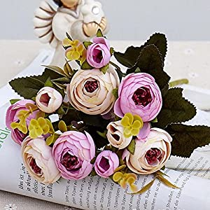 RXYY 10heads/1 Bundle Silk Tea Roses Bride Bouquet for Christmas Home Wedding New Year Decoration Fake Plants Artificial Flowers, Light Purple 93
