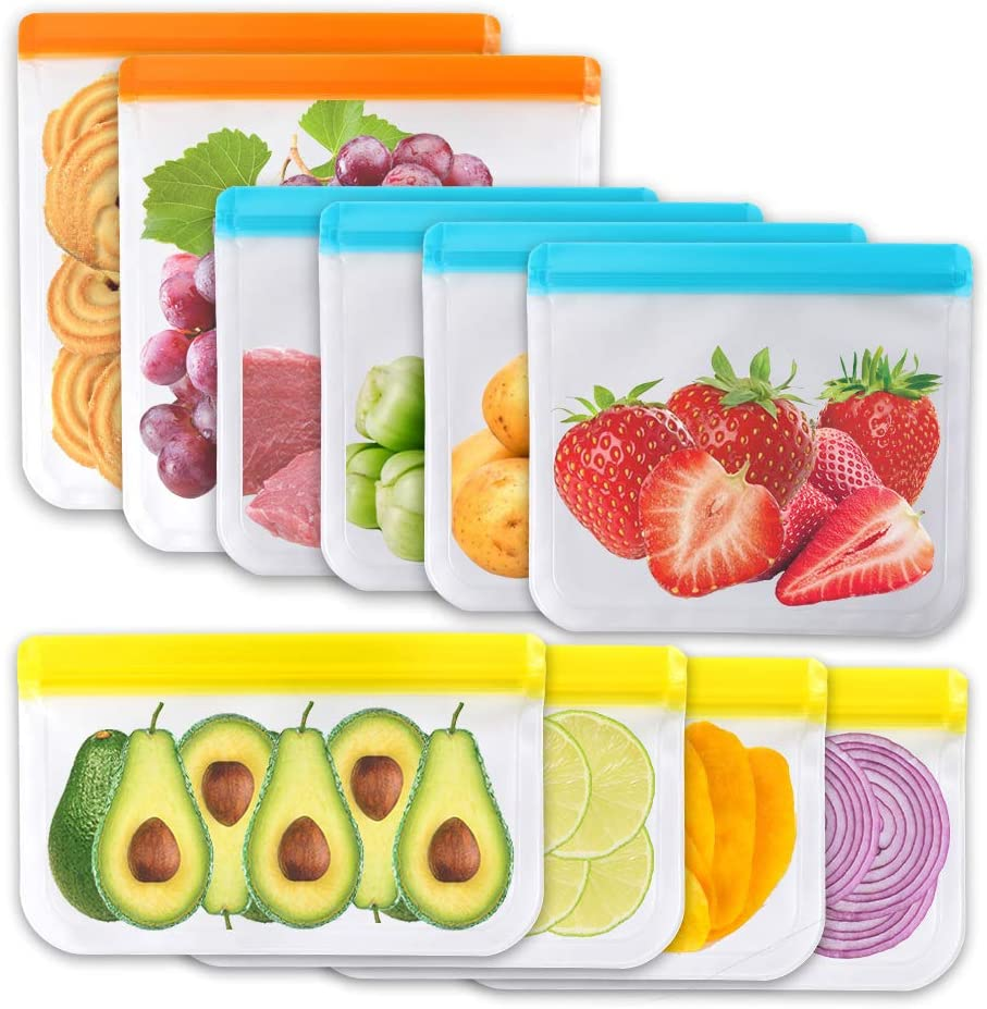 10 Pack Reusable Storage Bags, PEVA Ziplock Bag(2 Gallon Bags+4 Sandwich Bags+4 Snack Bags), Durable Leakproof Silicone Lunch Bags for Vegetables Meat Fruit Cereal Fridge Camping Picnic