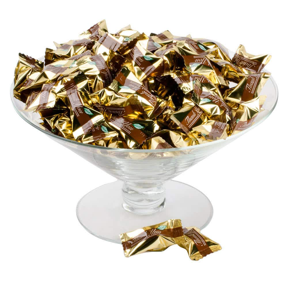 ''Thank You'' Chocolate Buttermints Candy Individually Wrapped - 1000/Case By TableTop King by TableTop King (Image #1)