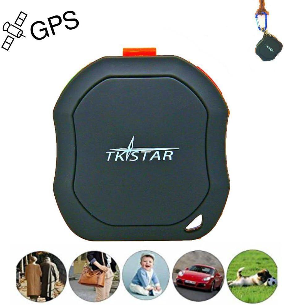 TKSTAR Mini portátil GPS Tracker, mascotas perro gato Vehículos Niños Antiguos Mini GPS Outdoor Navegación SOS GPS Ortung Tiempo real lugar con aplicación gratuita para Android y iOS tk1000