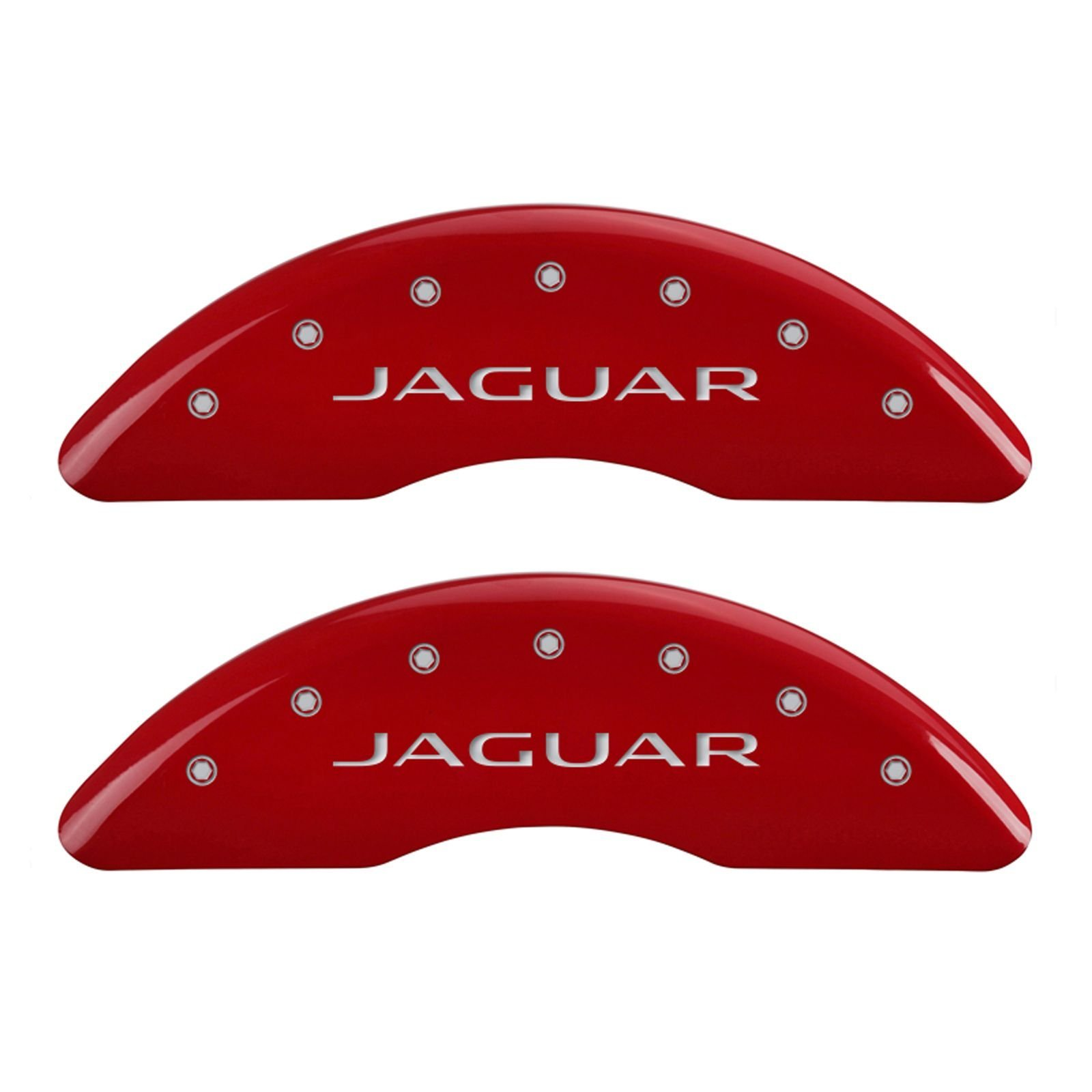 MGP Caliper Covers 41003SJALRD Caliper Cover (Red Powder Coat Finish, Engraved Front: Jaguar - Engraved Rear: Leaper/2012, Silver Characters, Set of 4)