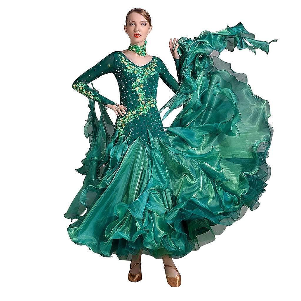 女性Vネックモダンダンススカートドレスダンス服バレエラテンダンス服 B07HRQC5Q5 XXL|ダークグリーン ダークグリーン XXL
