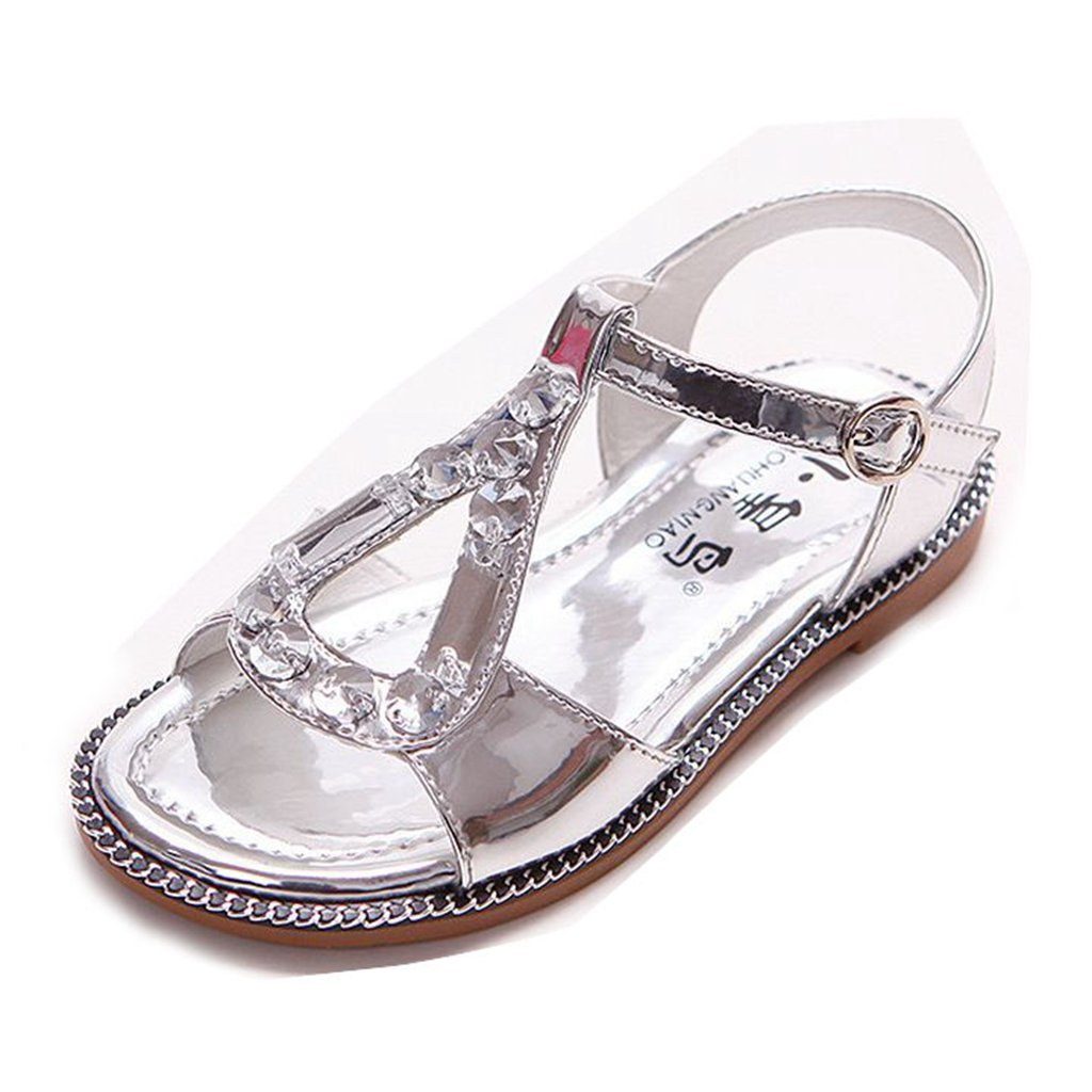 Girls' Squeaky Sandals Closed-Toe Summer Solid Rhinestone Outdoor Sport Casual Shoes
