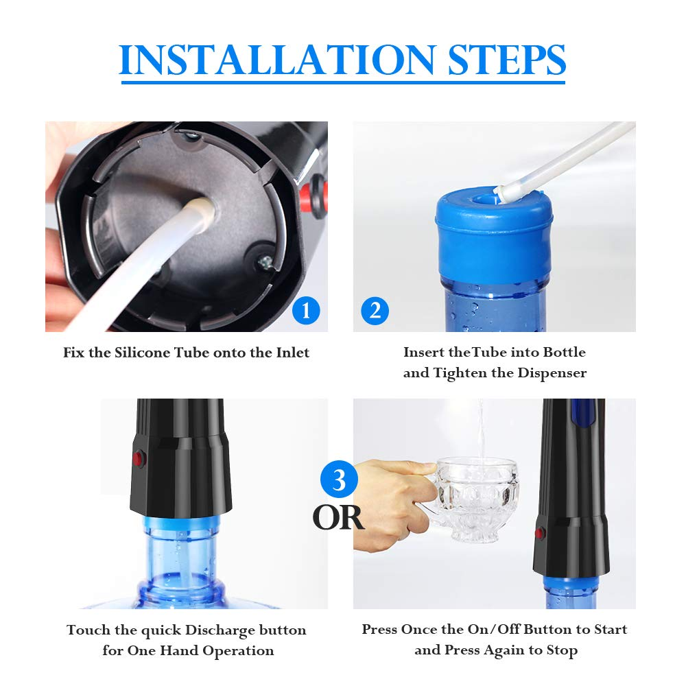 Water Pump Dispenser BMK Electric Gallon Drinking Bottle Water Dispensing Pump with On/Off Switch & Touch Button 2 Working Modes for Home Kitchen Office by BMK BLUEMICKEY (Image #8)