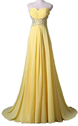 Nina Long Chiffon Rhinestone Prom Formal Evening Strapless Dress Yellow 2