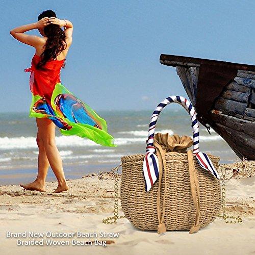 a Paja de Tejido Elegante Oscuro Vintage Mano Lady Waroomss Verano de Ratán Playa Bolsa Gris Bolso Redondo Retro tqzW11vBU