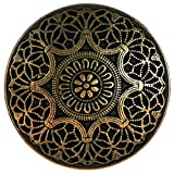 """Fancy & Decorative {25mm w/ 2.5mm Back Hole} 12 Pack of Large Size Round """"Popper Shank"""" Sewing & Craft Buttons Made of Genuine Metal w/ Antique Intricate Etched Swirled Mandala Design {Gold & Black}"""