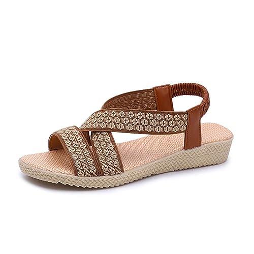 ASHOP Sandalias Mujer Bohemia Las Bailarinas Planas Zapatos de Cordones Verano Cruz Plana Romana Moda Zapatillas De Playa Sandalias y Chanclas de Cuero ...