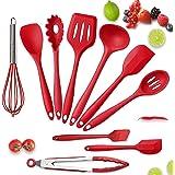 Nasjac Juegos Utensilios Cocina de Silicona, Juego de espátulas de utensilios de cocina de 10 piezas con soporte de…