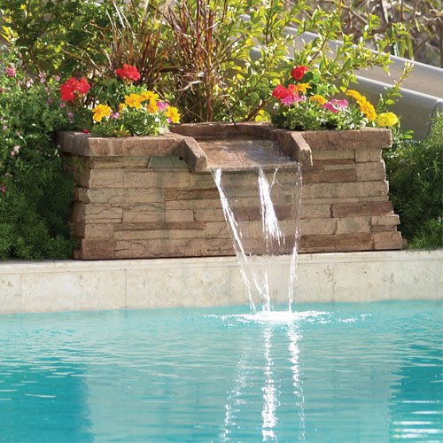 Brownstone scupper in ground swimming pool waterfall feature buy online in uae inter fab for Swimming pool water delivery cost