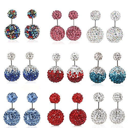 Sexy Sparkles Clay Earrings Double Sided Ear Studs Round Pave Rhinestone W/Stoppers