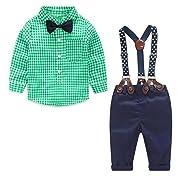 JIANLANPTT 2 Pieces Baby Boys Gentelman Suit Bowtie Long Sleeve Plaid Shirt Overalls Set Green 9-12months